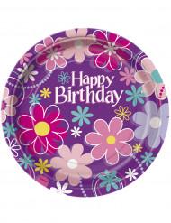 8 Pappteller mit der Aufschrift Happy Birthday