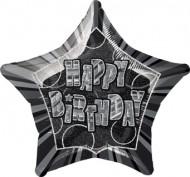 Grauer Geburtstagsluftballon in Sternform