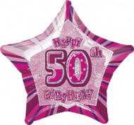 Sternförmiger Luftballon zum 50. Geburtstag in Rosa