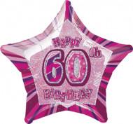 Sternballon rosa Happy Birthday 60