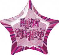 Sternenförmiger Ballon mit Aufschrift Happy Birthday