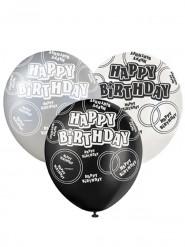 6 Graue Happy Birthday Luftabllons