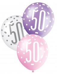6 Luftballons 50. Geburtstag pastellfarben
