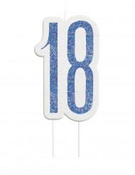 Kerze - Zahl 18 in blau