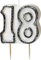 Kerze - Zahl 18 in grau