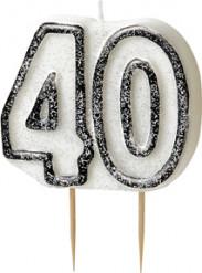 Kerze - Zahl 40 in grau