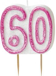 Kerze - Zahl 60 in rosa
