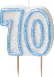 Kerze - Zahl 70 in blau