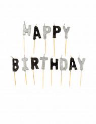 Happy Birthday Kerzen - grau