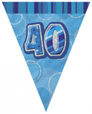 Wimpel-Girlande Zahl 40 - blau