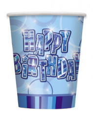8 Happy Birthday-Becher - blau