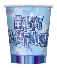 8 blaue Pappbecher mit Aufschrift Happy Birthday