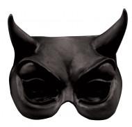 Schwarze Teufels-Halbmaske für Erwachsene