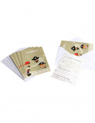 6 Piraten Einladungskarten mit Umschlag
