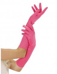Lange neonrosa Handschuhe