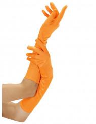 Lange neonorangefarbene Handschuhe