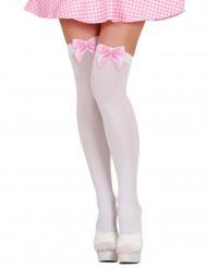 Weiße Strümpfe mit rosa Vichy-Schleife