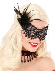 Schwarz-goldene Augenmaske mit Federn für Erwachsene