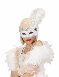 Weiße Feder-Augenmaske für Erwachsene