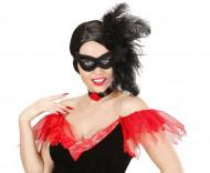 Schwarze Velours-Augenmaske mit Federn für Erwachsene