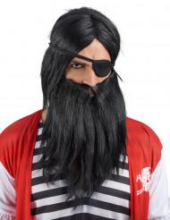 Schwarze Perücke mit Bart für Erwachsene