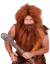 Höhlenmensch-Perücke mit Bart für Herren braun