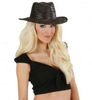 Schwarzer Flecht-Cowboyhut für Erwachsene