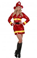 Rotes Feuerwehrfrau-Kostüm für Damen