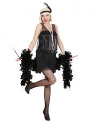 20er-Jahre Charleston-Kostüm für Damen schwarz