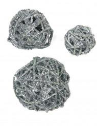 Pailletten-Dekorbälle in silberner Farbe
