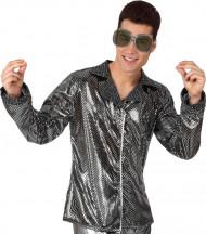 Glänzende, silberne Disco-Jacke für Herren
