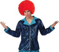 Glänzende, hellblaue Disco-Jacke für Herren