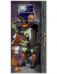 Halloween Tür-Deko: Hexe auf der Toilette