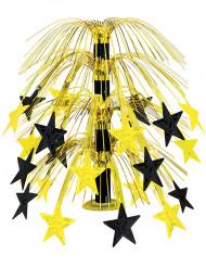 Tischdeko mit schwarz-goldenen Sternen