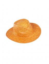 Orangefarbener Cowboy-Hut aus Flechtmaterial für Erwachsene