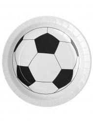 Fussball-Pappteller aus Karton Partydeko 10 Stück schwarz-weiss 23 cm