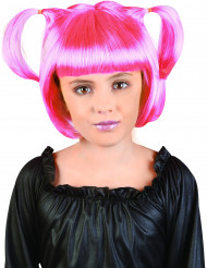 Rosa Manga-Perücke mit Zöpfen für Mädchen