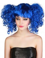 Perücke mit Zöpfen blau für Damen