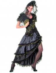 Schwarz-goldene Flamenco-Tänzerin - Kostüm für Damen