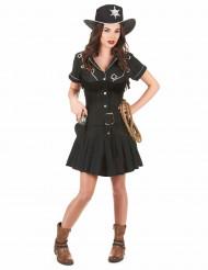 Sheriff-Kostüm für Damen Western schwarz