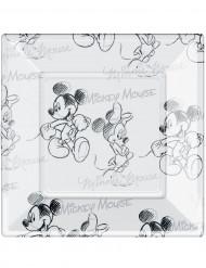 8 quadratische Plastikteller schwarz und weiß Mickey™