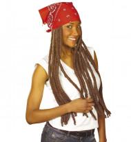 Braune Rasta-Perücke mit rotem Kopftuch für Erwachsene