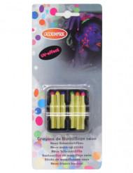 6 neonfarbene UV-Wachsmalstifte