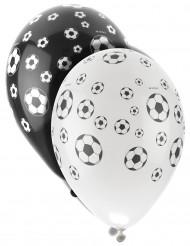 Fussball-Luftballons Partydeko Fussball-EM 8 Stück weiss-schwarz 30 cm
