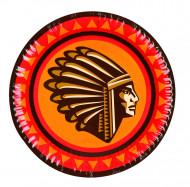 Indianer-Pappteller Häuptling 6 Stück rot-gelb-braun 18cm