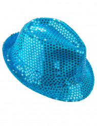 Blauer Pailletten-Hut für Damen