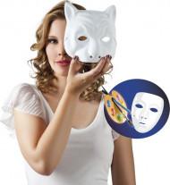 Weiße Katzen-Maske zum Gestalten für Erwachsene