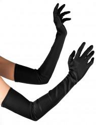 Lange, schwarze Handschuhe