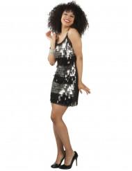 Schwarz-silbernes Disco-Kostüm für Damen