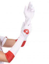 Lange, weiße Krankenschwester-Handschuhe